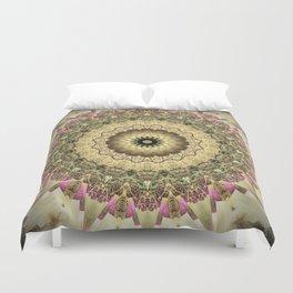 Vintage Gold Pink Mandala Design Duvet Cover