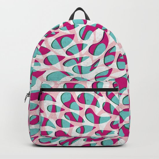 Organic Petals Pattern Pink Turquoise Backpack