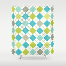 Retro 1980s Argyle Geometric Pattern in Modern Bright Colors Blue Green and Gray Shower Curtain