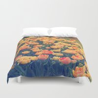 tulips Duvet Covers featuring Tulips  by Juliana RW