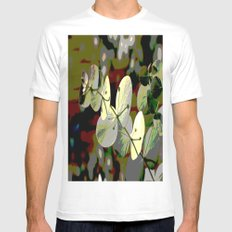 Bright Leaf White MEDIUM Mens Fitted Tee