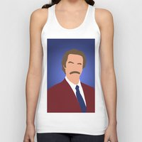 anchorman Tank Tops featuring Ron Burgundy - Anchorman by Tom Storrer