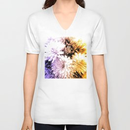 Mums abstract with shades of purple and gold Unisex V-Neck