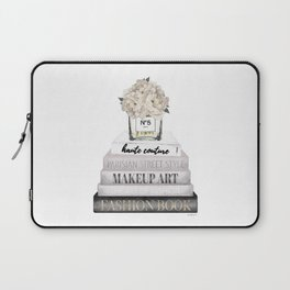 Fashion books, in Grey, with Hydrangeas, Cream, Make up, Watercolor, Fashion, Illustration Laptop Sleeve