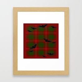 Scottish Tartan Pattern-Black Gothic Bats Art Design Framed Art Print