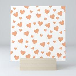 Hearts pattern - peach Mini Art Print