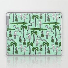 Tropical alligator palm trees toucan pattern by andrea lauren drawing illustration Laptop & iPad Skin