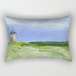 Windmill French Countryside Acrylics On Paper Rectangular Pillow