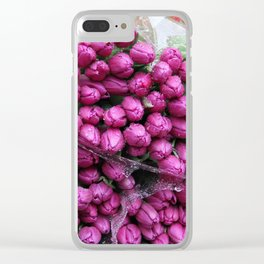 Rain Soaked Tulips Clear iPhone Case