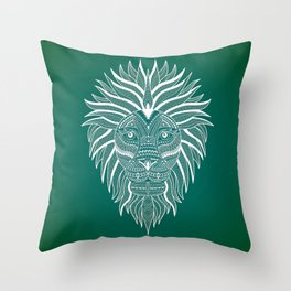 Lion Bee Manuality Green Throw Pillow