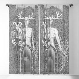 Hel, Watcher of the Dead - Dark Wolf Sheer Curtain