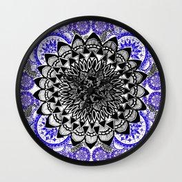 Blue and Black Patterned Mandala Wall Clock
