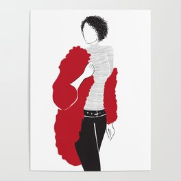 red sweater and stripes Poster