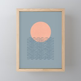 Ocean Wave Sun Blue - Mid Century Modern Framed Mini Art Print