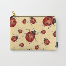 ABSTRACT RED LADY BUGS ON CREAM COLOR DESIGN ART Carry-All Pouch