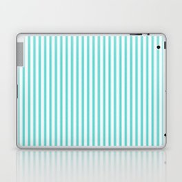 Classic Aqua Blue and White Mattress Ticking Stripes Laptop & iPad Skin