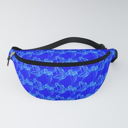 Sparkling pearl blue ice monograms on a blue background. Fanny Pack