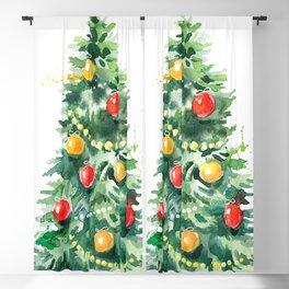 Christmas Tree Watercolors Illustration Blackout Curtain