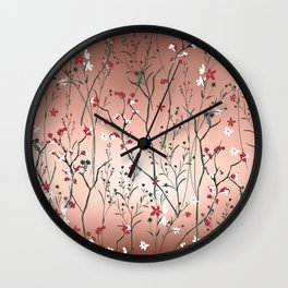 Floral, Rose Gold Sky Wall Clock