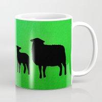 sheep Mugs featuring Sheep by Brontosaurus