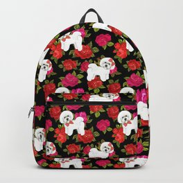 Bichon Frise dogs red rose floral for dog lovers Backpack