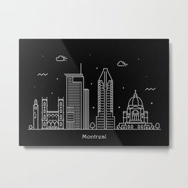 Montreal Minimal Nightscape / Skyline Drawing Metal Print