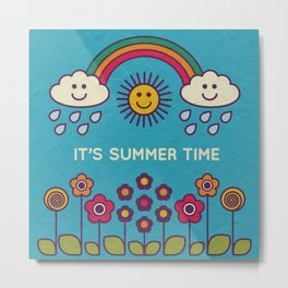 Cute summer poster with text - illustration Metal Print