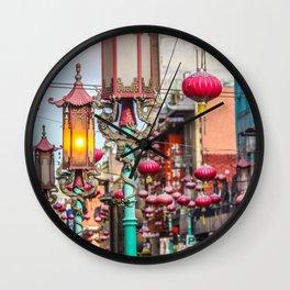 Chinatown Lanterns Wall Clock