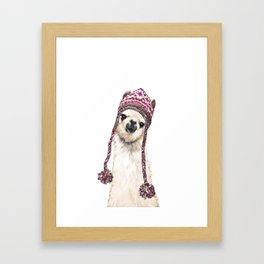 The Llama with Hat Framed Art Print