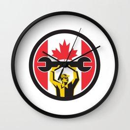 Canadian Mechanic Canada Flag Icon Wall Clock
