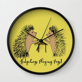 Hedgehogs Playing Pogs  Wall Clock