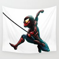 spider man Wall Tapestries featuring Spider man by Carrillo Art Studio