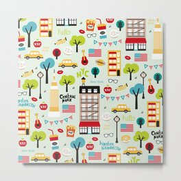 Fun New York City Manhattan travel icons life hipster pattern Metal Print