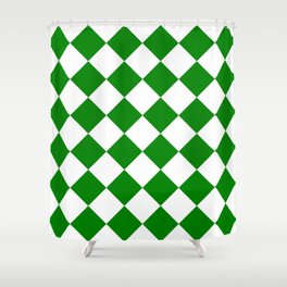 Large Diamonds - White and Green Shower Curtain