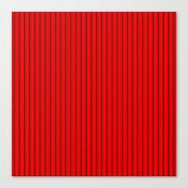 Mattress Ticking Striped Pattern Jet Black on Red Canvas Print