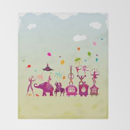 colorful circus carnival traveling in one row during daylight Throw Blanket