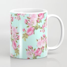 Pink & Mint Green Floral Coffee Mug