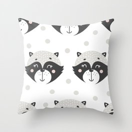 Baby Racoon - Racoon Baby Pattern Throw Pillow