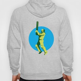 Cricket Player Batsman Batting Circle Retro Hoody