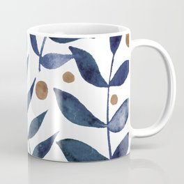 Watercolor berries and branches - indigo and beige Coffee Mug