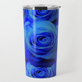 AWESOME BLUE ROSE GARDEN  PATTERN ART DESIGN Travel Mug