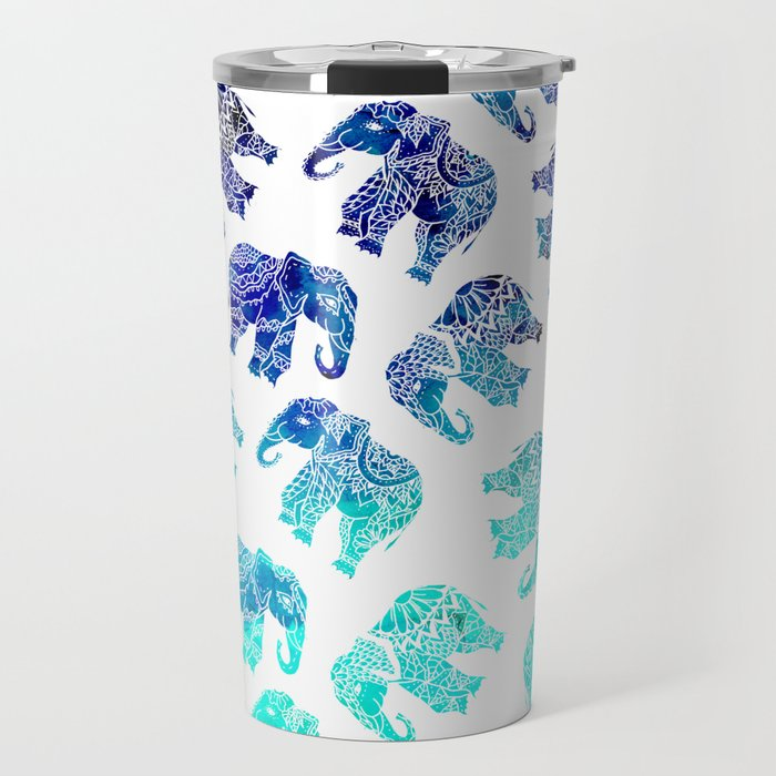 Boho turquoise blue ombre watercolor hand drawn mandala elephants pattern Travel Mug