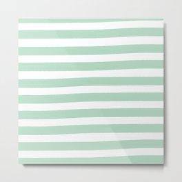 Brushy Stripes - Mint Metal Print