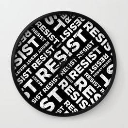 Resist Text Criss Cross Pattern Wall Clock