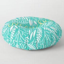 Pardon My French – Gold on Turquoise Floor Pillow