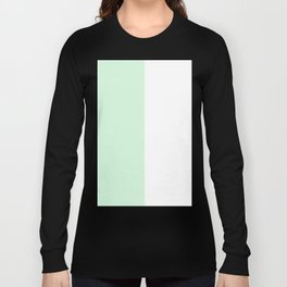 White and Pastel Green Vertical Halves Long Sleeve T-shirt