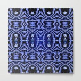 Indigo Lavender Glossy Floral Pattern Metal Print