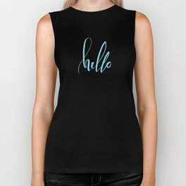 Hello - Handwritten lettering. Turquoise teal color Biker Tank