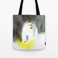 polar bear Tote Bags featuring Polar Bear by Linette No