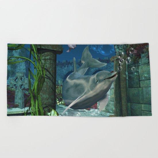 Wonderful dolphin Beach Towel